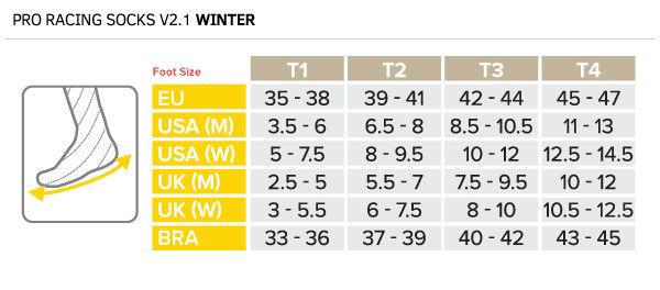 Compressport Löparstrumpa Racing Socks V2.1 Winter Trail Storlektstabell