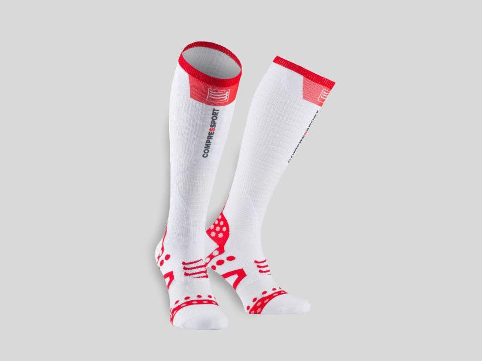 Compressport Pro Racing Full Socks Ultralight White/Red - Löparstrumpor