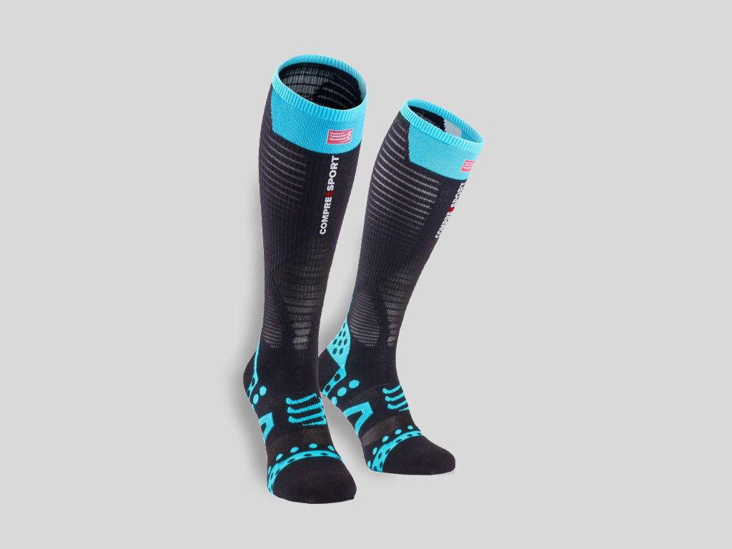 Compressport Pro Racing Full Socks Ultralight Black/Blue - Löparstrumpor