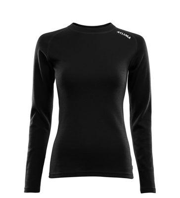 Fr�n Norska Aclima kommer WarmWool Crew Neck shirt, Woma i finaste Merinoull. F�rgen heter Jet Black och finns i storlek: XS-2XL. Passar b�st till Dam