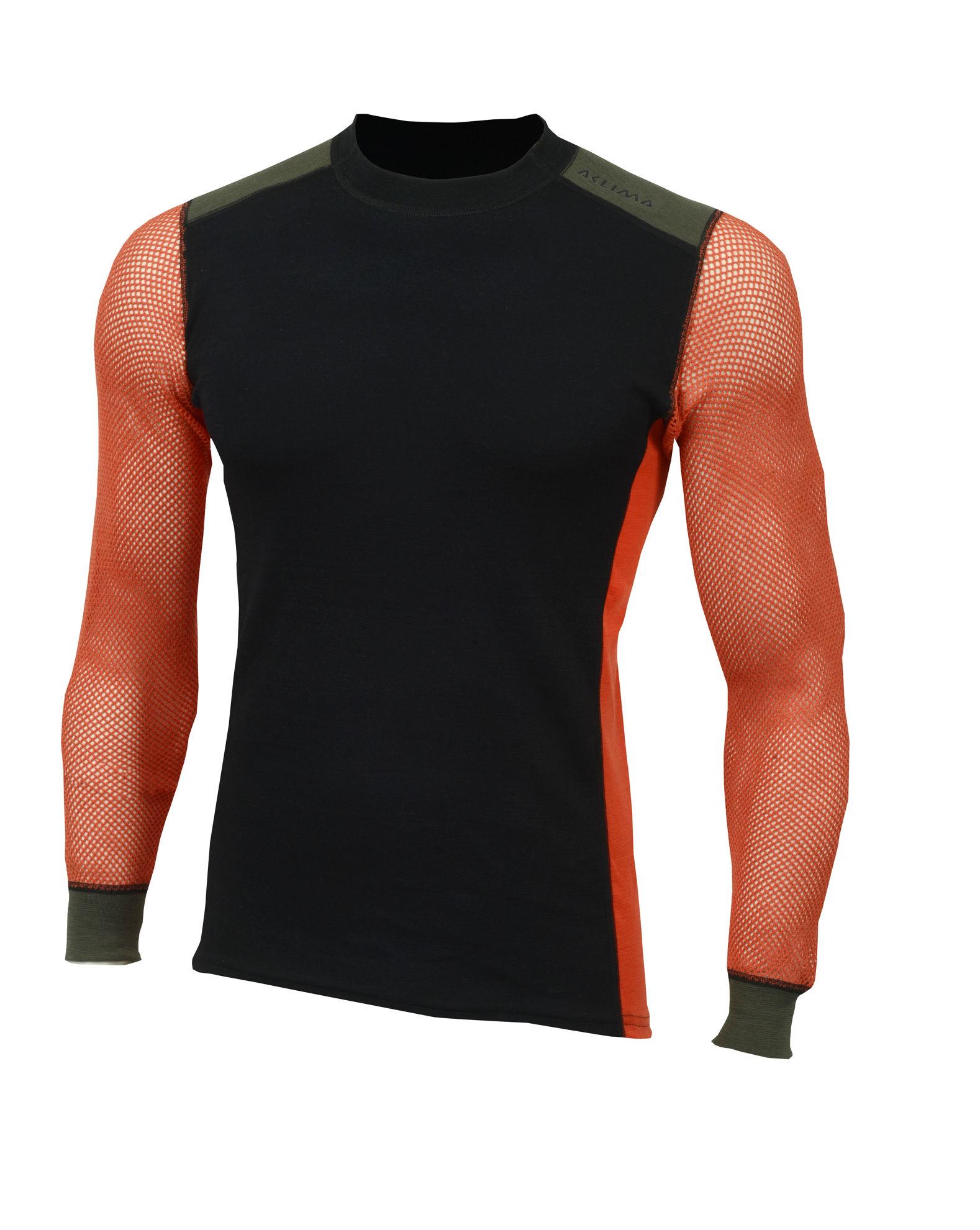 Fr�n Norska Aclima kommer Hiking Crew Neck shirt  i finaste Merinoull. F�rgen heter Jet Black/Poinciana/Olive Night och finns i storlek: XS-2XL. Passar b�st till Herr