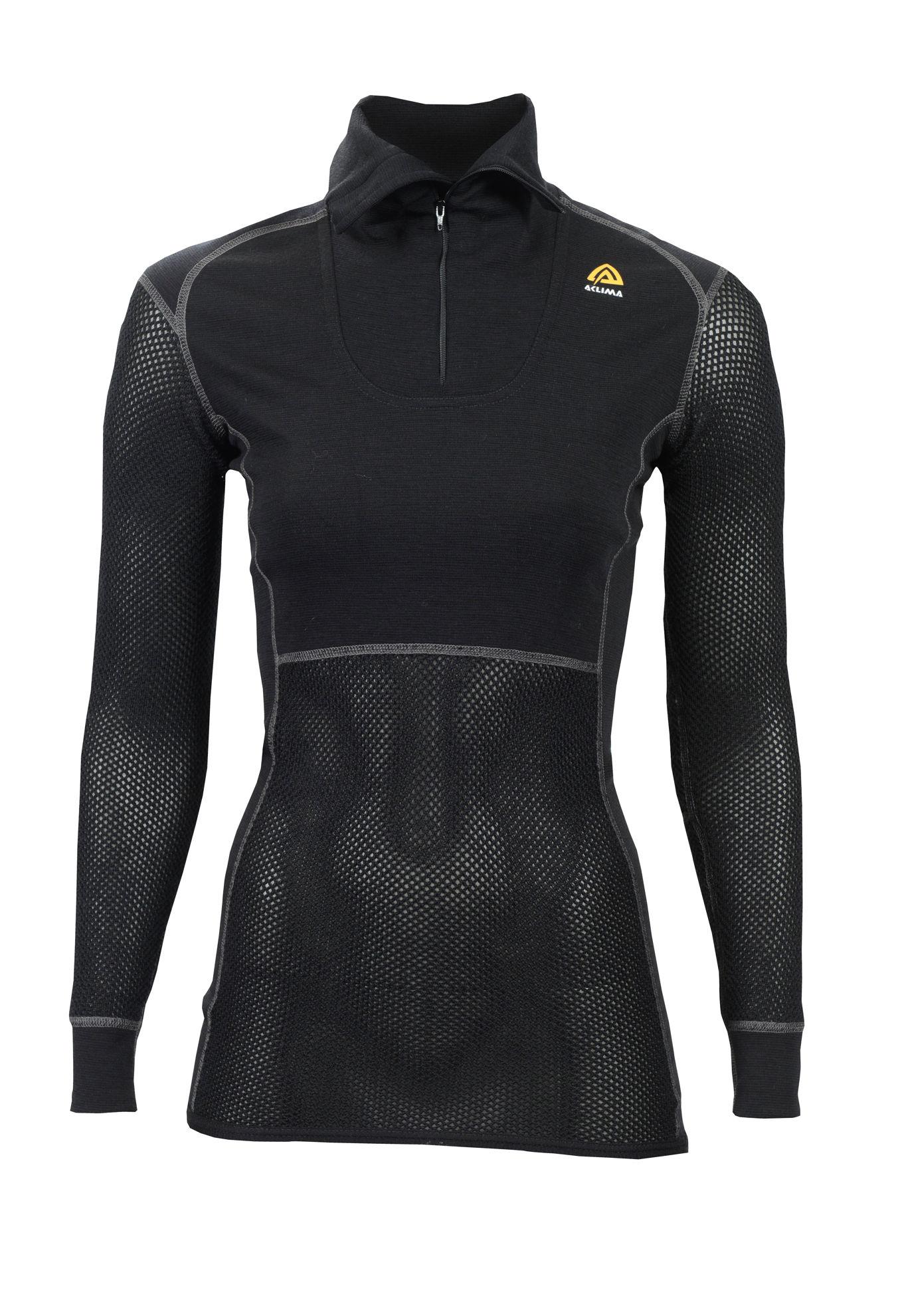 Bild på Aclima WoolNet Polo Shirt with zip, Dam i Merinoull - Jet Black