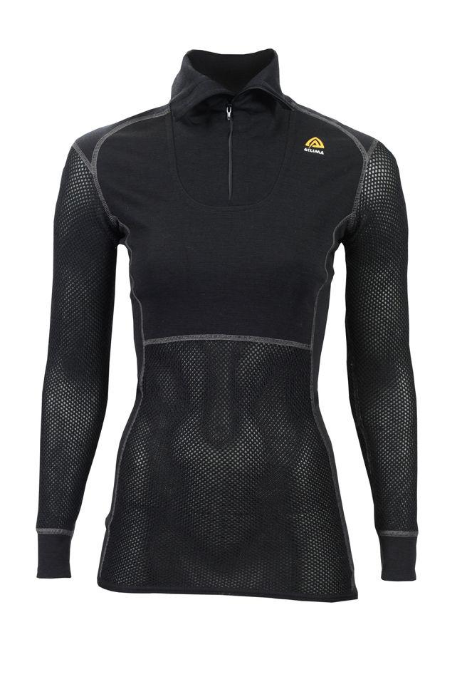 Aclima WoolNet Polo Shirt with zip, Dam i Merinoull - Jet Black