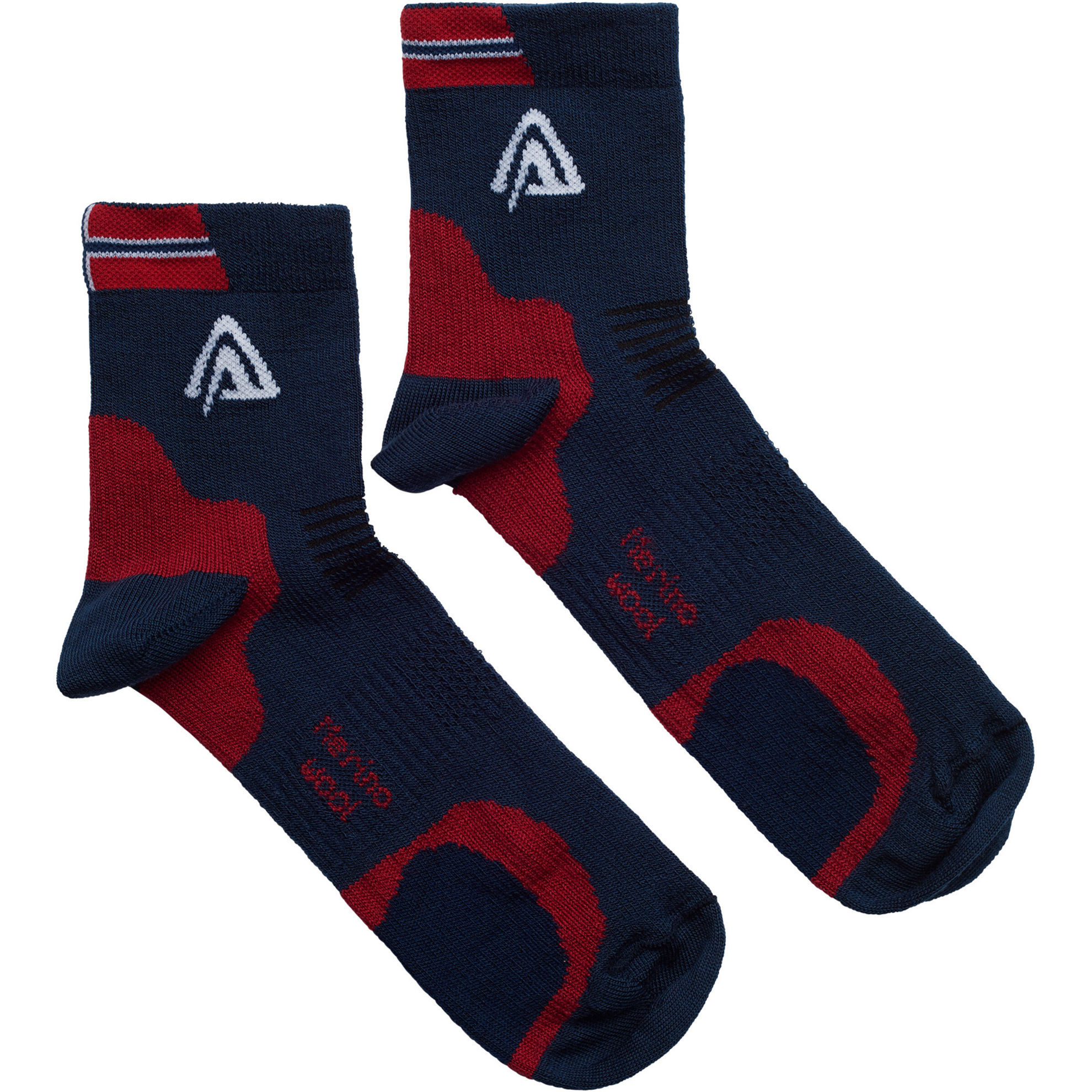 Aclima Running Socks 2 PK i Merinoull - Blue/ Red/ White