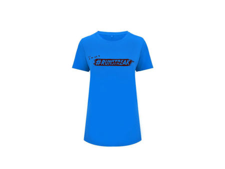 I'm on a #RUNSTREAK T-shirt women, Blue<