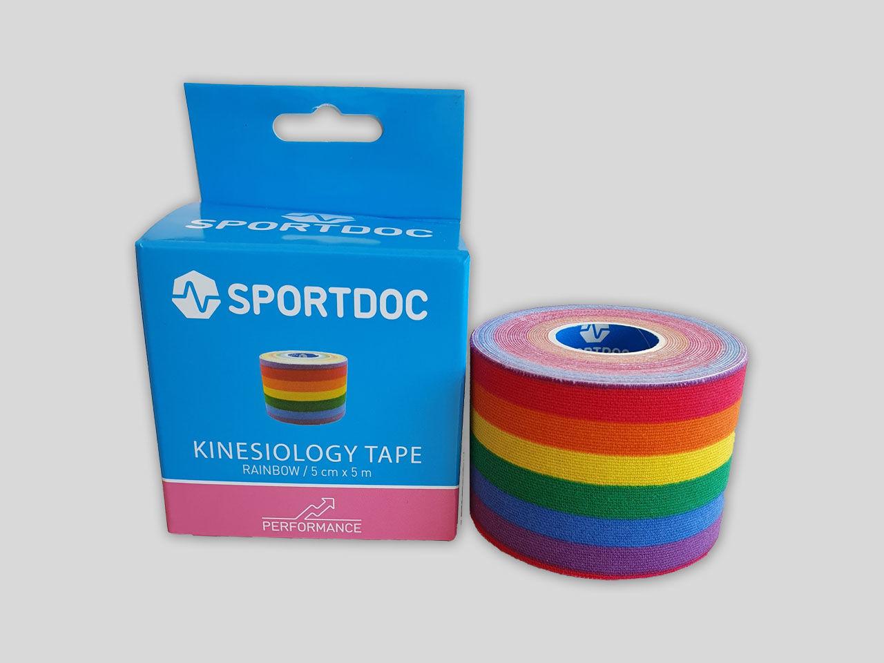 KinesioTejp 50mm x 5m regnbågesfärgad från sportdoc
