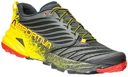 La Sportiva Akasha Black/Yellow - Stabil trailsko för tuff terräng, Herrmodell<