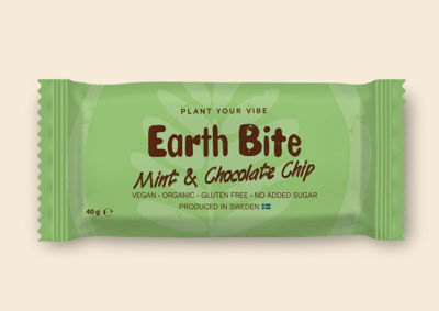 Earth Bite EKO Energibar - Mint & Chocolate Chip 40g - Tillverkad i Sverige